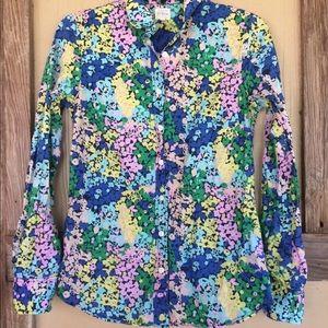 J Crew Floral Button Up Blouse Multicolor L Sleeve
